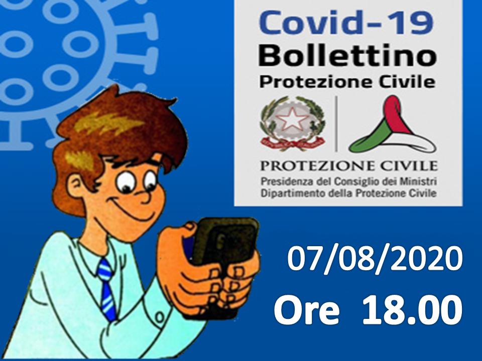 Bollettino Covid-19: i casi in Italia alle ore 18 del 07 agosto
