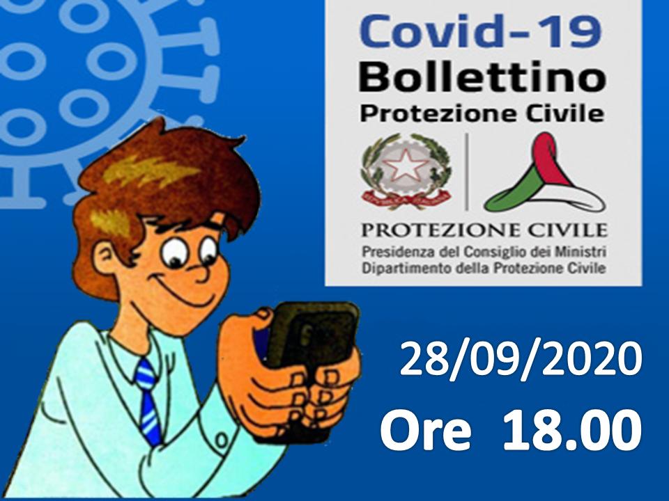 Bollettino Covid-19: i casi in Italia alle ore 18 del 28 settembre