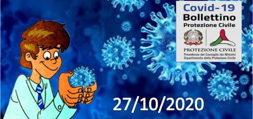 Bollettino Covid-19: i casi in Italia alle ore 18 del 27 ottobre