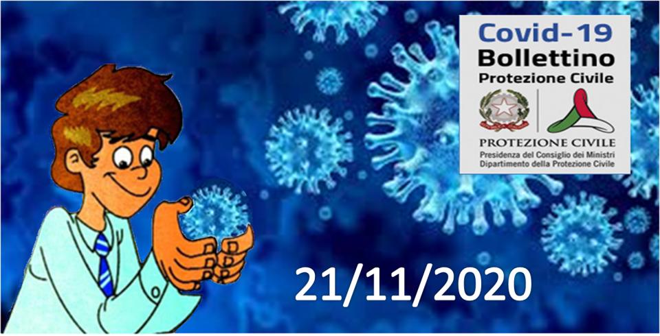 Bollettino Covid-19 i casi in Italia alle ore 18 del 21 novembre