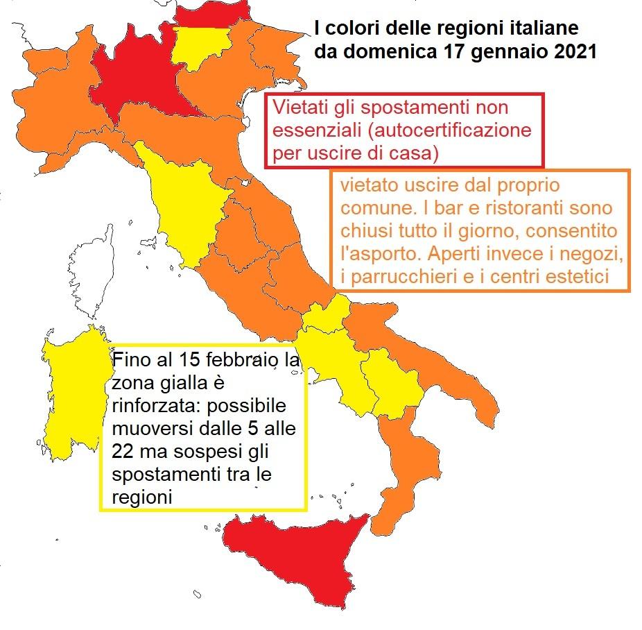 Classifica regioni 17 gennaio 2021