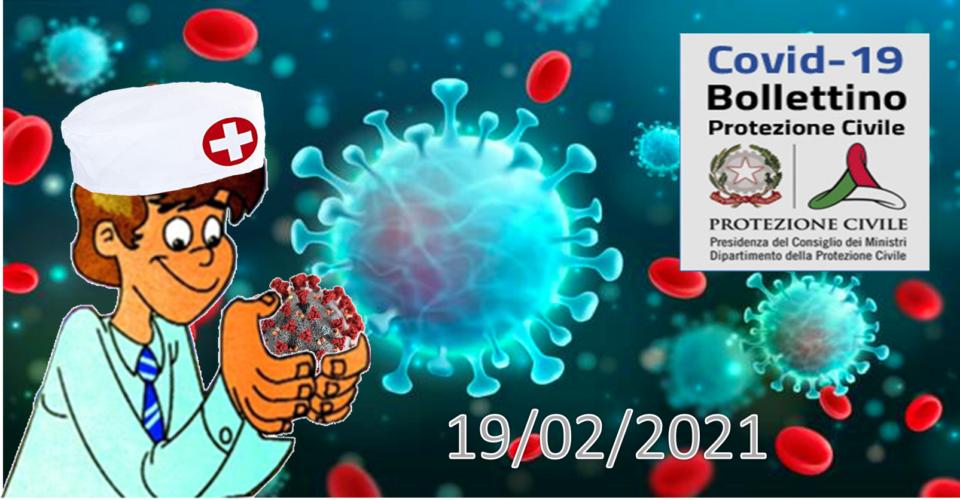 Bollettino Covid-19 i casi in Italia alle ore 18 del 19 febbraio