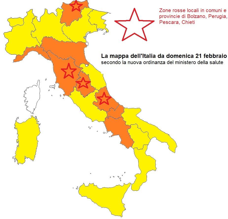 colori regioni italia 19 febbraio 2021